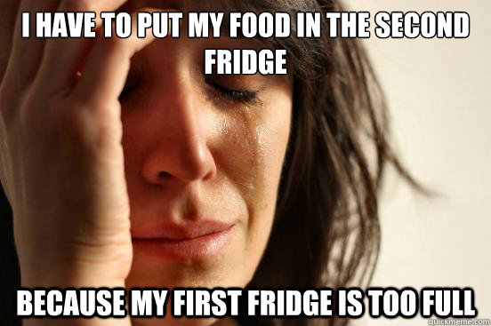 i have to put my food in the second fridge because my first  - First World Problems
