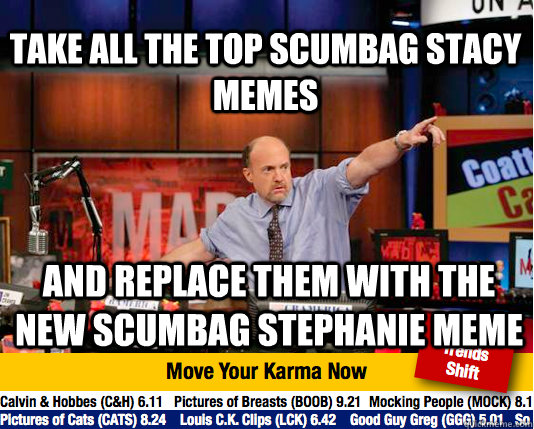 take all the top scumbag stacy memes and replace them with t - Mad Karma with Jim Cramer