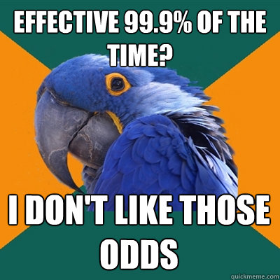 effective 999 of the time i dont like those odds - Paranoid Parrot