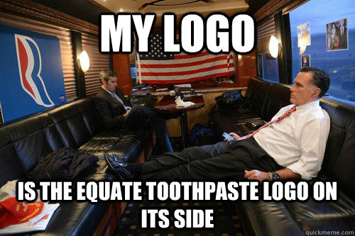 my logo is the equate toothpaste logo on its side - Sudden Realization Romney
