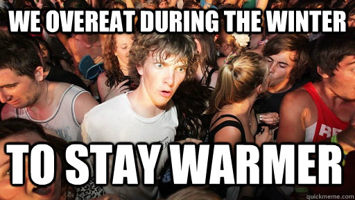 we overeat during the winter to stay warmer - Sudden Clarity Clarence