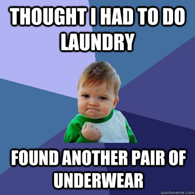 thought i had to do laundry found another pair of underwear - Success Kid