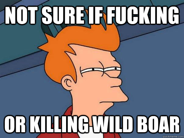 not sure if fucking or killing wild boar - Futurama Fry