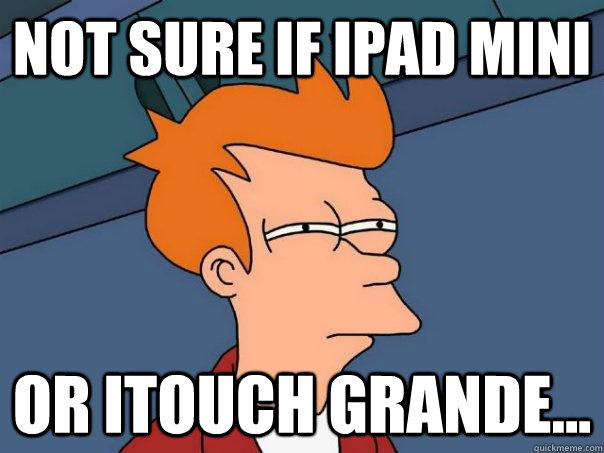 not sure if ipad mini or itouch grande - Futurama Fry