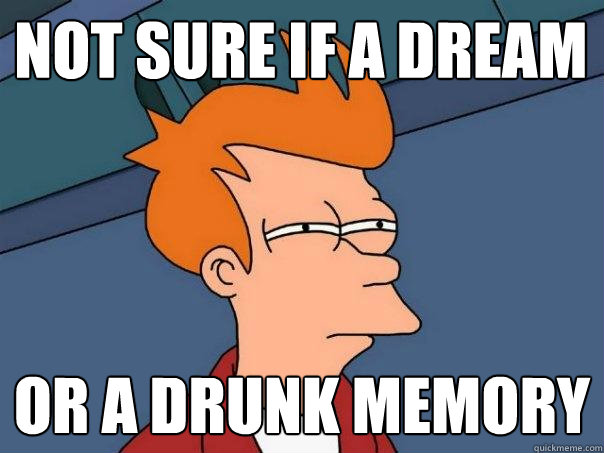 not sure if a dream or a drunk memory - Futurama Fry