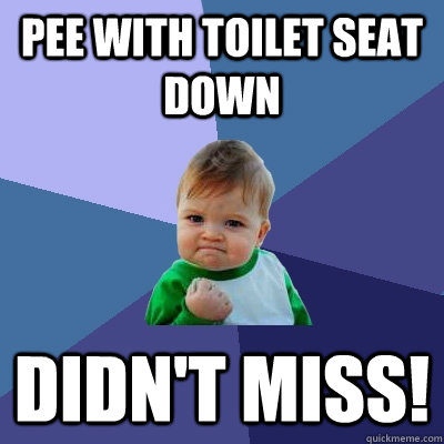 pee with toilet seat down didnt miss - Success Kid