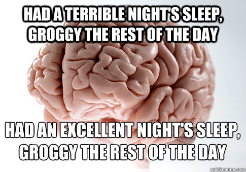 had a terrible nights sleep groggy the rest of the day had - Scumbag Brain