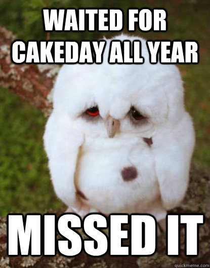waited for cakeday all year  - Depressed Baby Owl