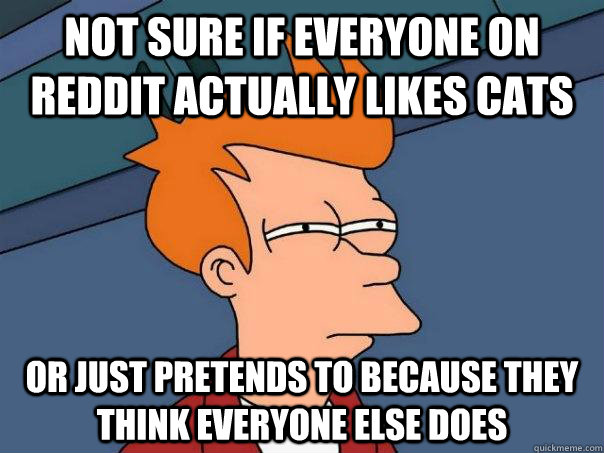 not sure if everyone on reddit actually likes cats or just p - Futurama Fry