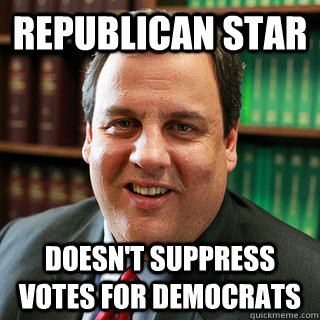 republican star doesnt suppress votes for democrats - Good Guy Christie