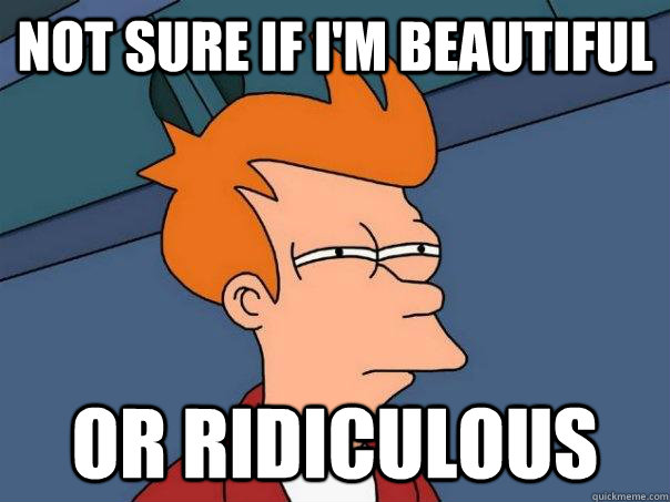 not sure if im beautiful or ridiculous - Futurama Fry