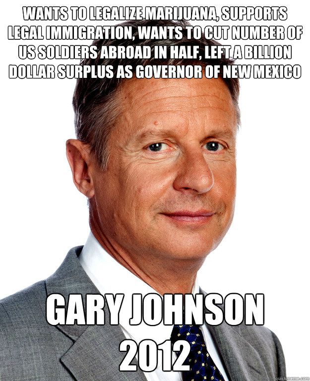 wants to legalize marijuana supports legal immigration wan - Gary Johnson for president