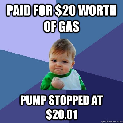 paid for 20 worth of gas pump stopped at 2001 - Success Kid