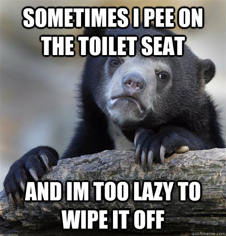 sometimes i pee on the toilet seat and im too lazy to wipe  - Confession