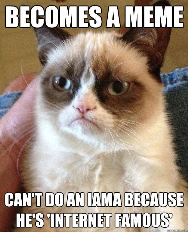 becomes a meme cant do an iama because hes internet famou - Grumpy Cat