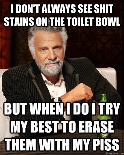 i dont always see shit stains on the toilet bowl but when i - The Most Interesting Man In The World