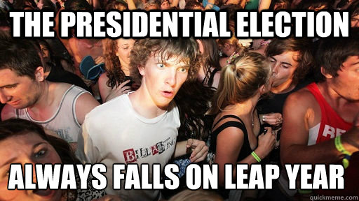 the presidential election always falls on leap year - Sudden Clarity Clarence
