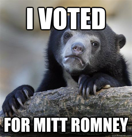 i voted for mitt romney - Confession Bear