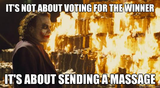 its not about voting for the winner its about sending a ma - joker money
