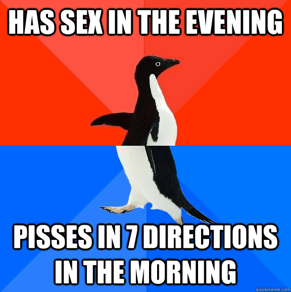 has sex in the evening pisses in 7 directions in the morning - Socially Awesome Awkward Penguin