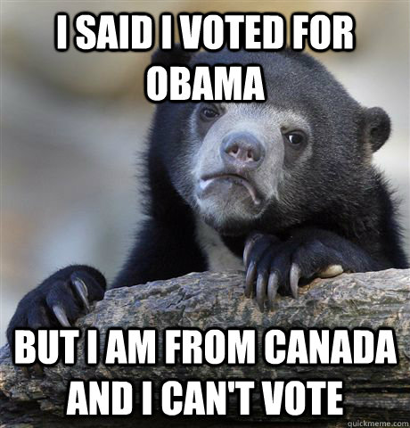 i said i voted for obama but i am from canada and i cant vo - Confession Bear