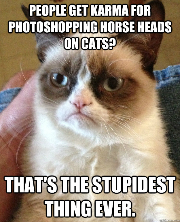 people get karma for photoshopping horse heads on cats that - grumpy cat