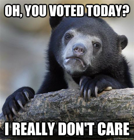 oh you voted today i really dont care - Confession Bear