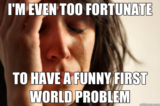 I'M EVEN TOO FORTUNATE TO HAVE A FUNNY FIRST WORLD PROBLEM - First World Problems