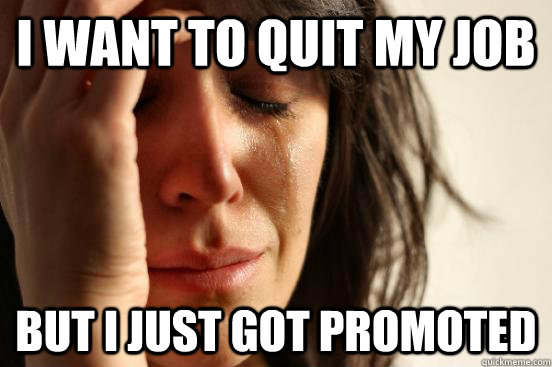 i want to quit my job but i just got promoted  - First World Problems
