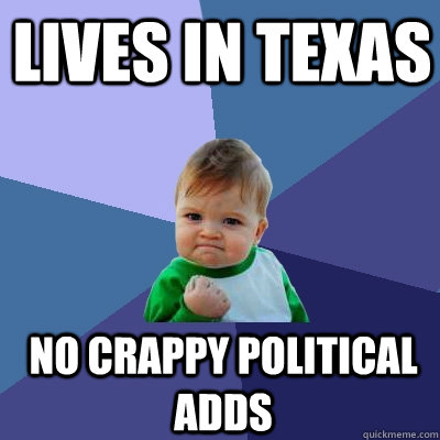 lives in texas no crappy political adds - Success Kid