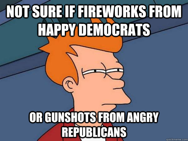 not sure if fireworks from happy democrats or gunshots from  - Futurama Fry
