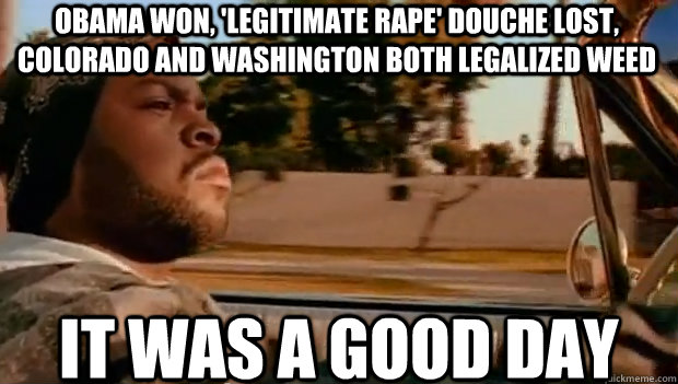 obama won legitimate rape douche lost colorado and washi - It was a good day