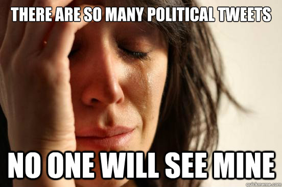 there are so many political tweets no one will see mine - First World Problems