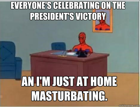 everyones celebrating on the presidents victory an im jus - Spiderman