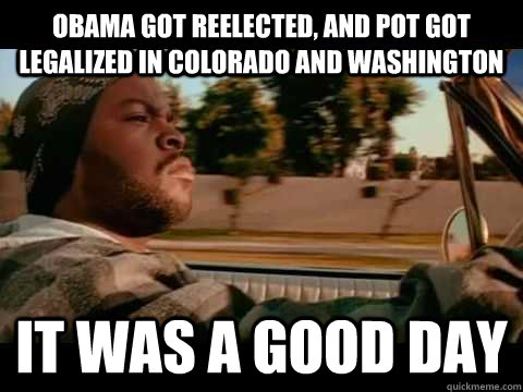 obama got reelected and pot got legalized in colorado and w - It Was a Good Day