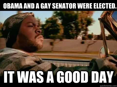 obama and a gay senator were elected it was a good day - It Was a Good Day