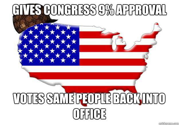gives congress 9 approval votes same people back into offic - Scumbag america
