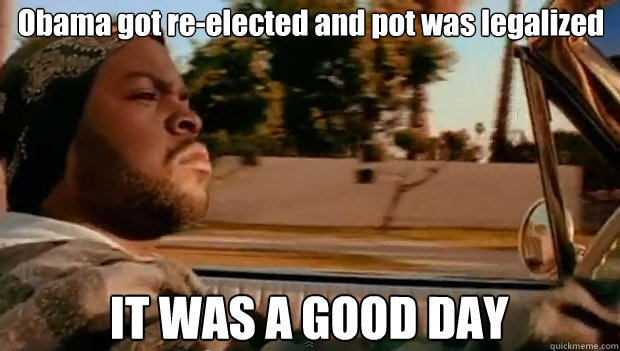 obama got reelected and pot was legalized it was a good day - It was a good day