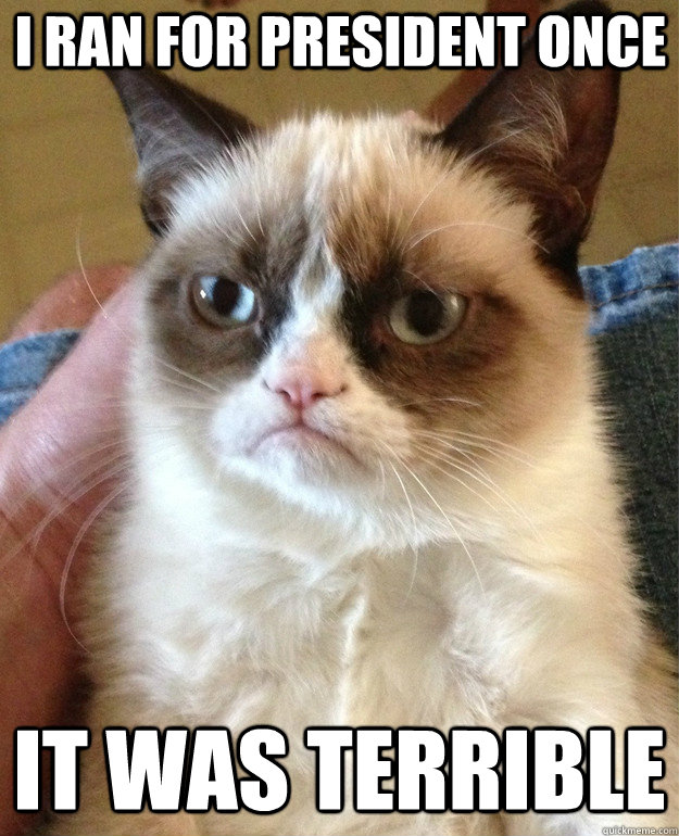 i ran for president once it was terrible - Grumpy Cat