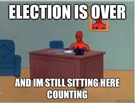 Election is over and im still sitting here counting - Spiderman Desk