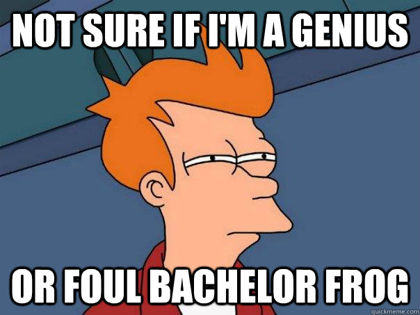 not sure if im a genius or foul bachelor frog - Futurama Fry