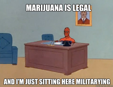 marijuana is legal and im just sitting here militarying - masturbating spiderman