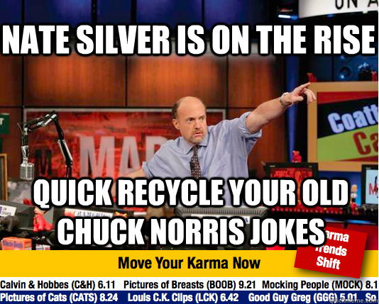 nate silver is on the rise quick recycle your old chuck norr - Mad Karma with Jim Cramer