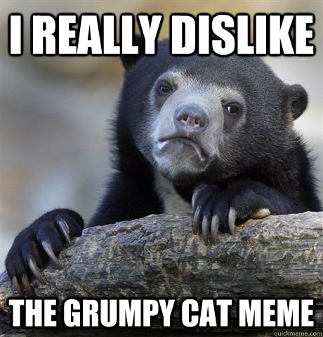 i really dislike the grumpy cat meme - Confession Bear