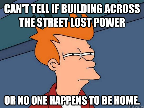 cant tell if building across the street lost power or no on - Futurama Fry