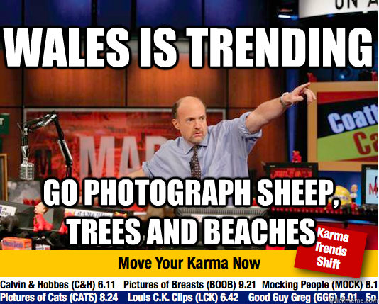 wales is trending go photograph sheep trees and beaches - Mad Karma with Jim Cramer