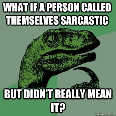 what if a person called themselves sarcastic but didnt real - Philosoraptor