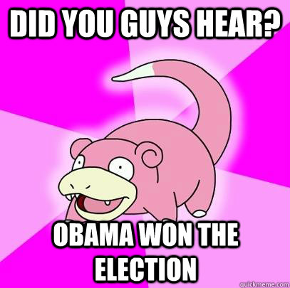 did you guys hear obama won the election - Slowpoke