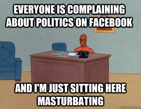everyone is complaining about politics on facebook and i - Masturbating Spiderman
