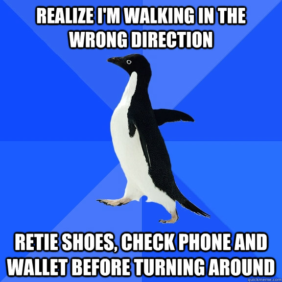 realize im walking in the wrong direction retie shoes chec - Socially Awkward Penguin